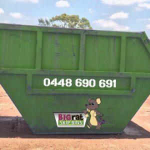 8 metre cube Skip Bin with Big Rat logo and phone number