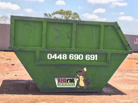 8 metre cube Skip Bin with Big Rat logo and phone number
