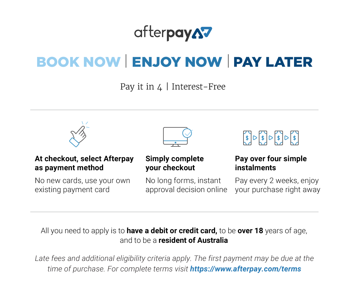 Afterpay - Book Now - For Desktop